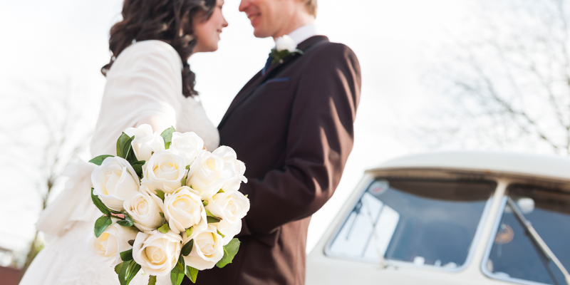 flowers, bride and groom  and  VW campervan  at Hull Marina